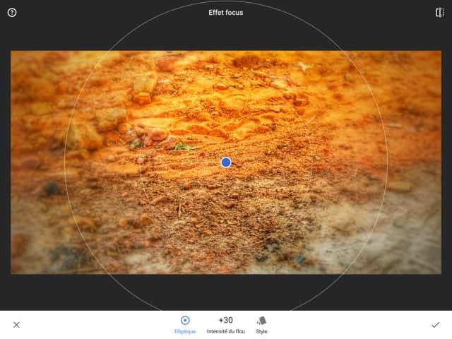 Snapseed 2 : application de l'effet focus