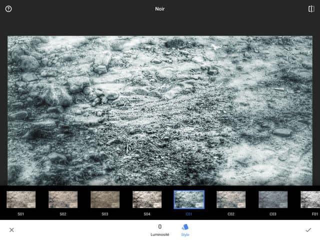 "Snapseed 2 : application de l'effet ""Noir"""