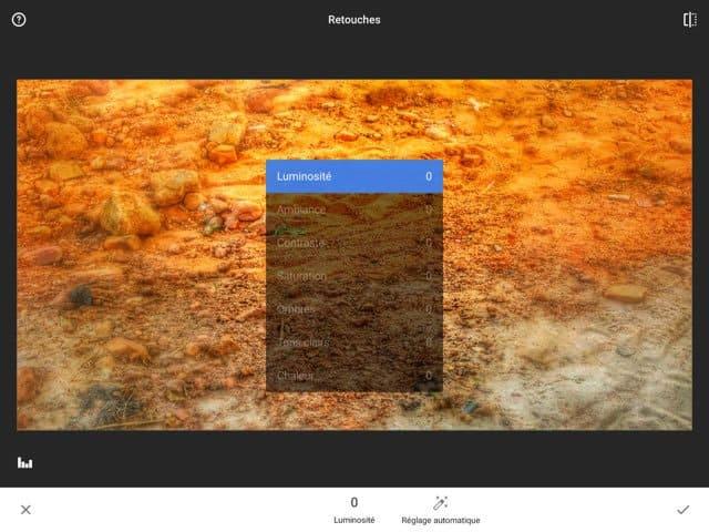 Snapseed 2 : menu retouches