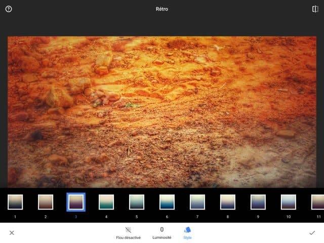 "Snapseed 2 : application de l'effet ""Retro"""