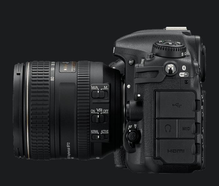 Nikon D500 vue gauche et connectivité